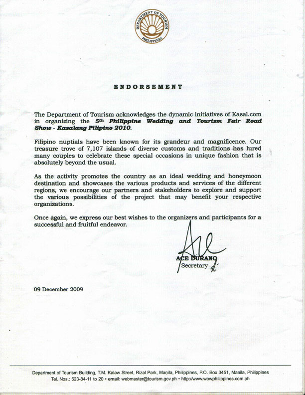 Department Of Tourism Endorsement Letter | Kasalang Filipino - The